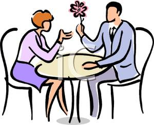 300x244 Man Sitting At A Table With A Woman Giving Her A Flower