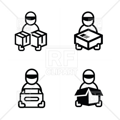 400x400 Man Courier Icon Royalty Free Vector Clip Art Image