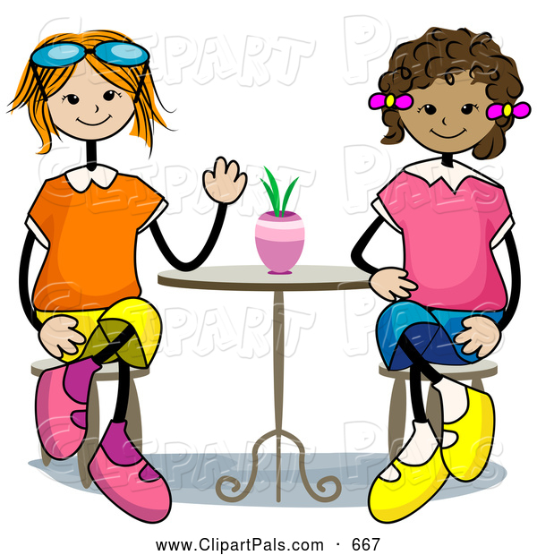 600x620 Pal Clipart Of A Pair Of Stick Girls Sitting