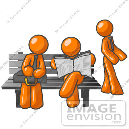 450x450 Clip Art Graphic Of Orange Guy Characters Waiting At A Bus Stop