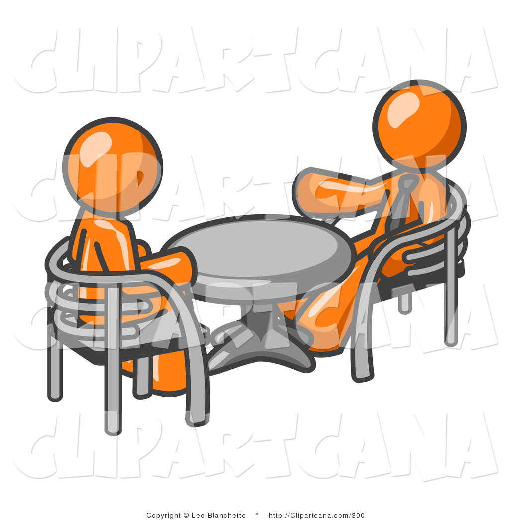1024x1044 Vector Clip Art Of A Pair Of Orange Business Men Sitting Across