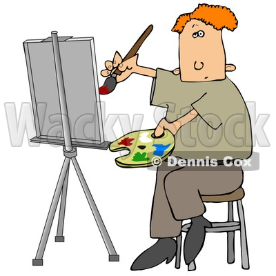 400x400 Clipart Illustration Image Of A Red Haired Male Artist Sitting