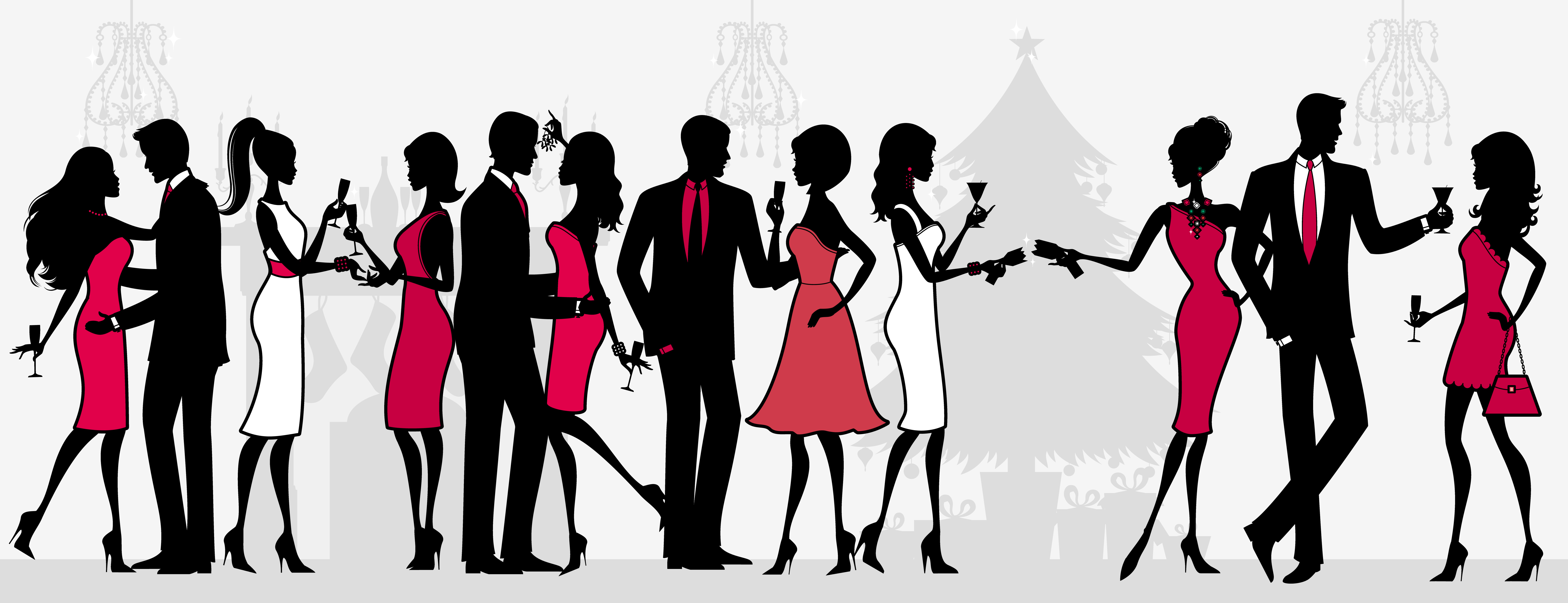 7456x2868 Cocktail Party Clipart Collection