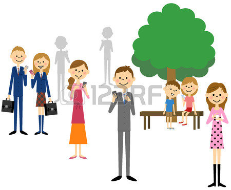 450x371 People Busy On Their Mobile Phone Royalty Free Cliparts, Vectors
