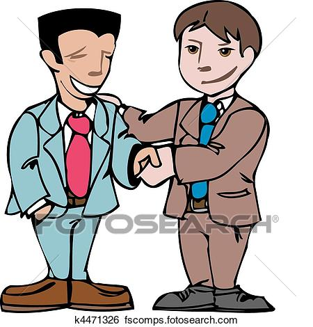 450x470 Clip Art Of The Two Men Shake Hands, And Socialize. Illustration