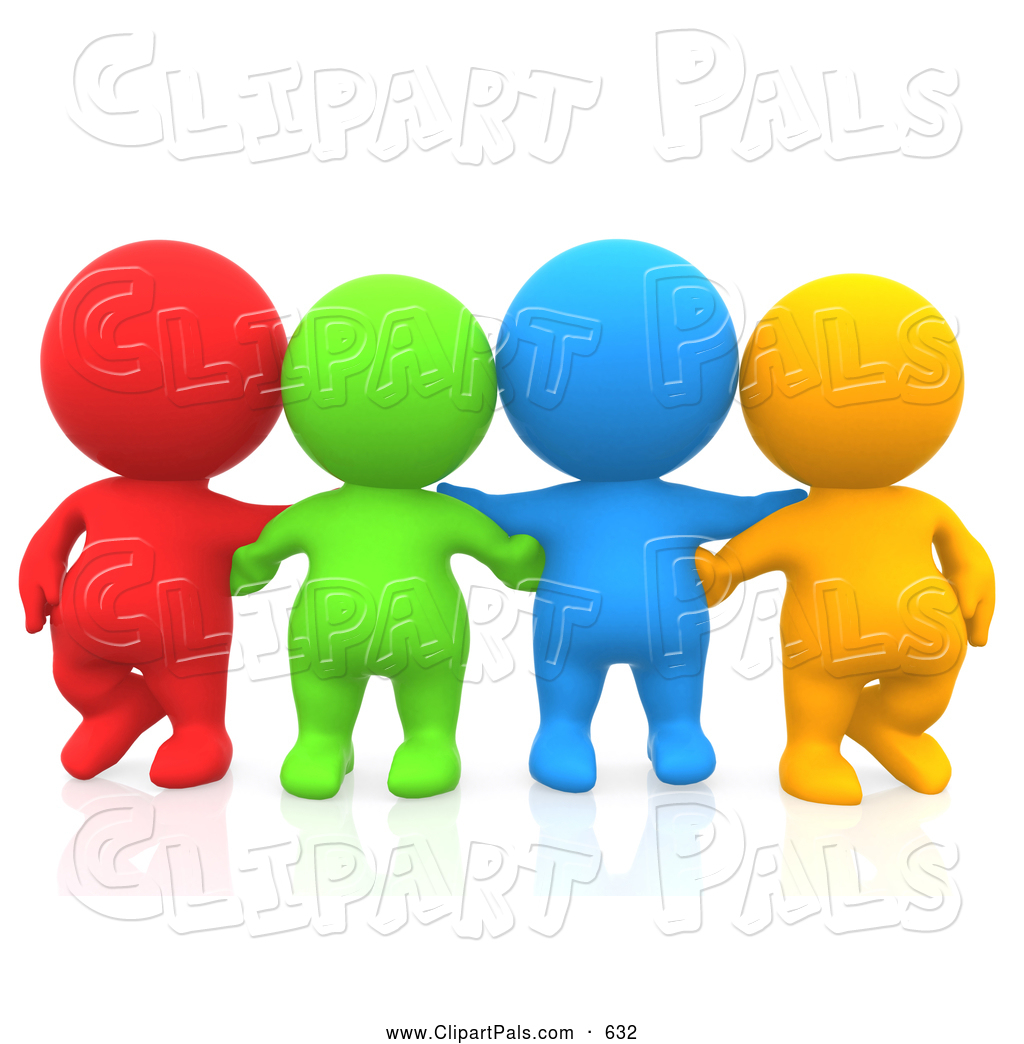 1024x1044 Pal Clipart Of A Group Of Four 3d Teeny People Friends Facing