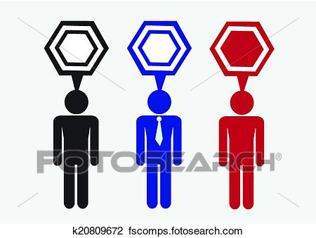 450x338 Clipart Of Man People Thinking Talking Conversation Icon Symbol