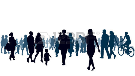 450x253 Crowd Of Shopping People In A Colorful City Royalty Free Cliparts