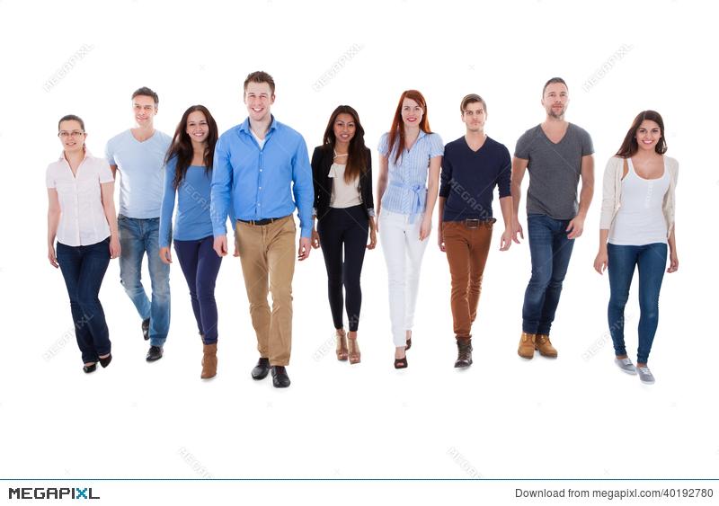 800x563 Diverse Group Of People Walking Towards Camera Stock Photo
