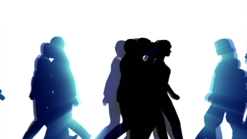 852x480 People Walking By 3d Vector Silhouette Animation Stock Footage