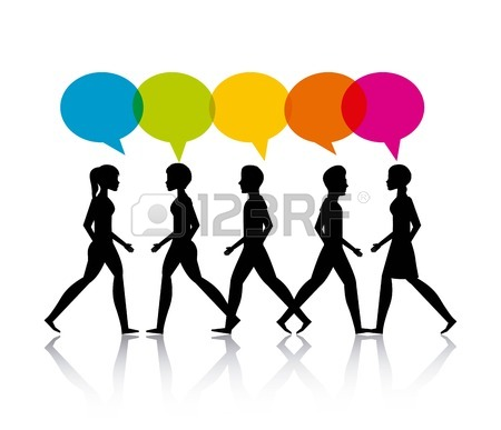 450x387 People Walking Design, Vector Illustration Royalty Free Cliparts