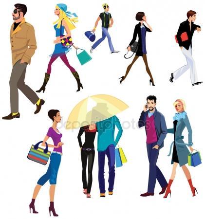 421x450 People Walking Stock Vectors, Royalty Free People Walking
