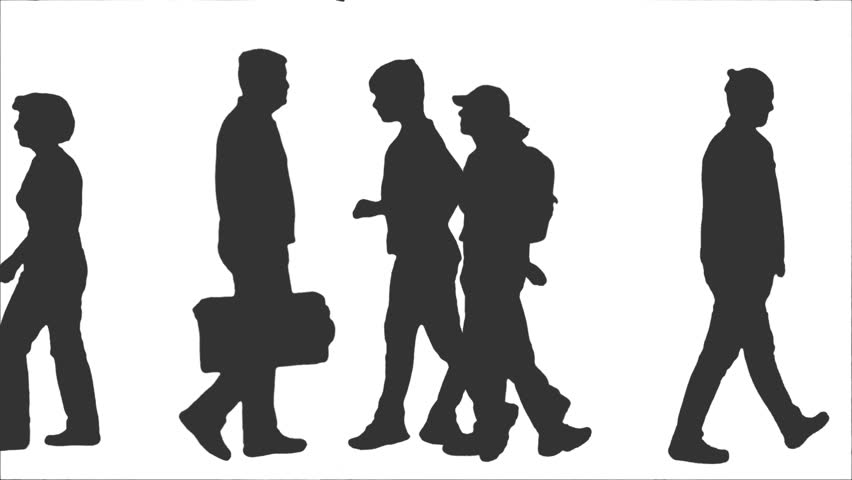 852x480 Silhouette Of Walking People. Side View. Full Hd Footage