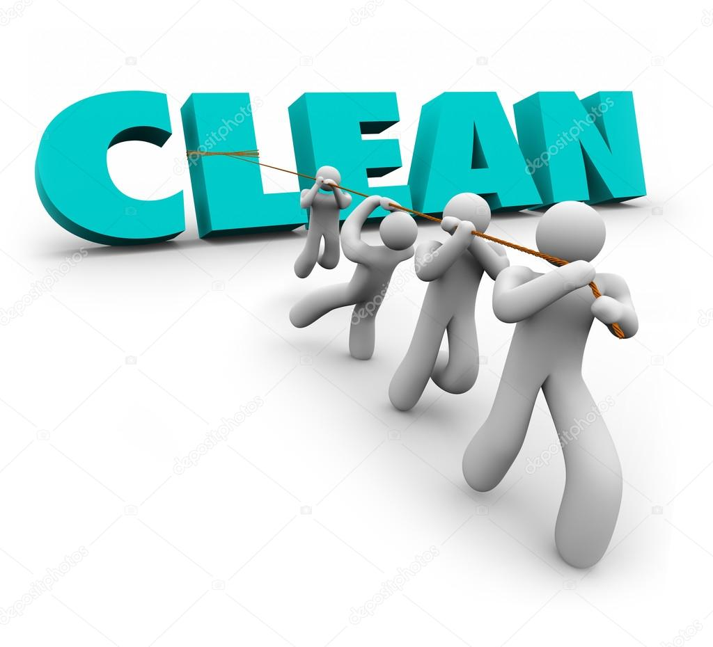 1024x930 Clean 3d Word Pulled Up Team People Working Together Cleaners