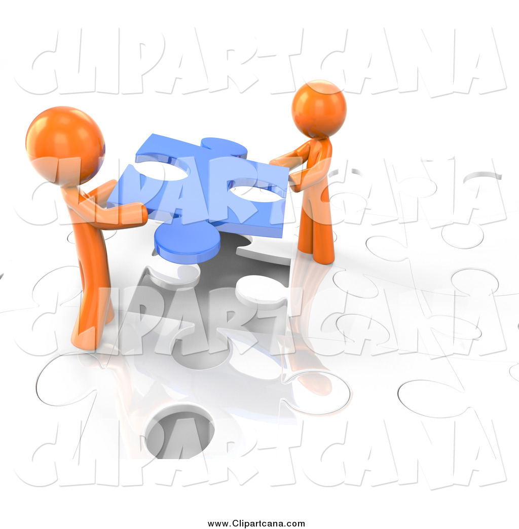 1024x1044 Clip Art Of A 3d Orange Men Working Together To Complete A Puzzle