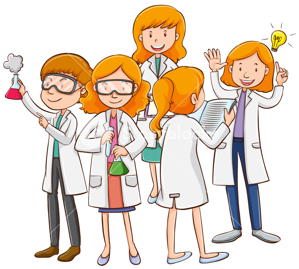 1000x899 Many Scientists Working Together Illustration Royalty Free Stock