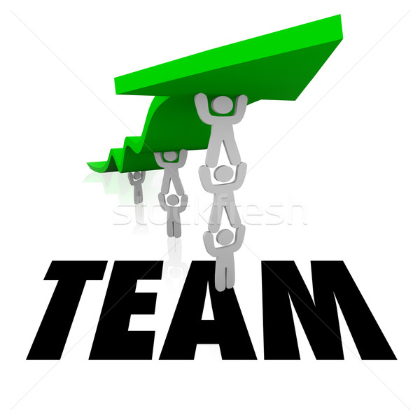 600x600 Team Word People Working Together Lift Arrow Stock Photo