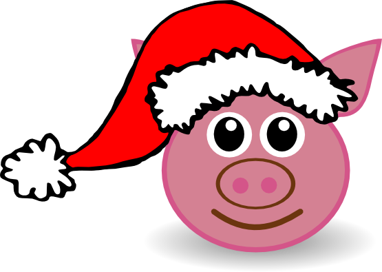 555x395 Christmas Pig Clipart