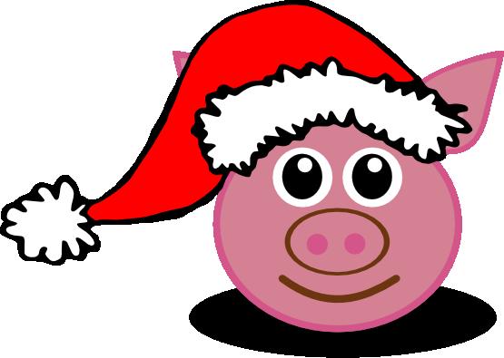 555x395 Christmas Pig Clipart