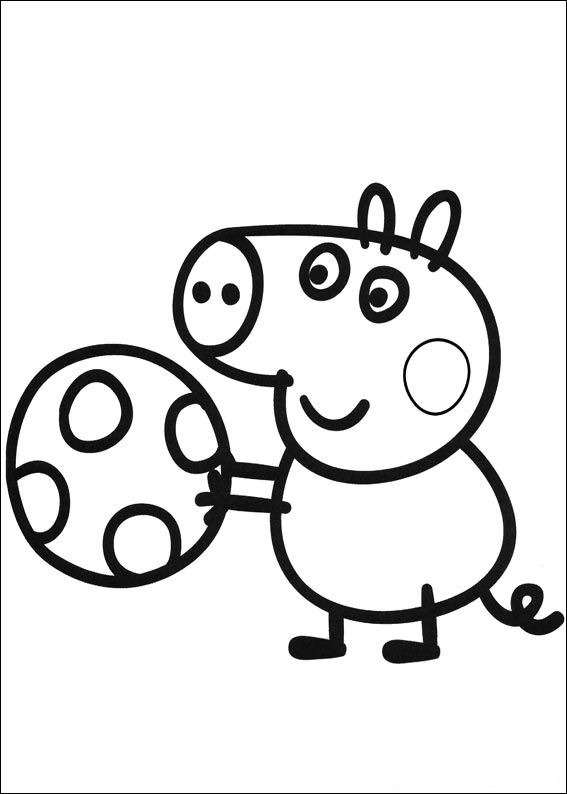 567x794 Peppa Pig Coloring Pages George Playing Ball