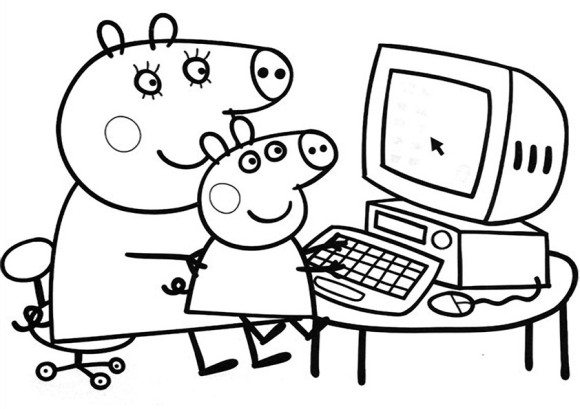 580x409 Pretty Peppa Pig Coloring In Pages Cartoon Coloring Pages