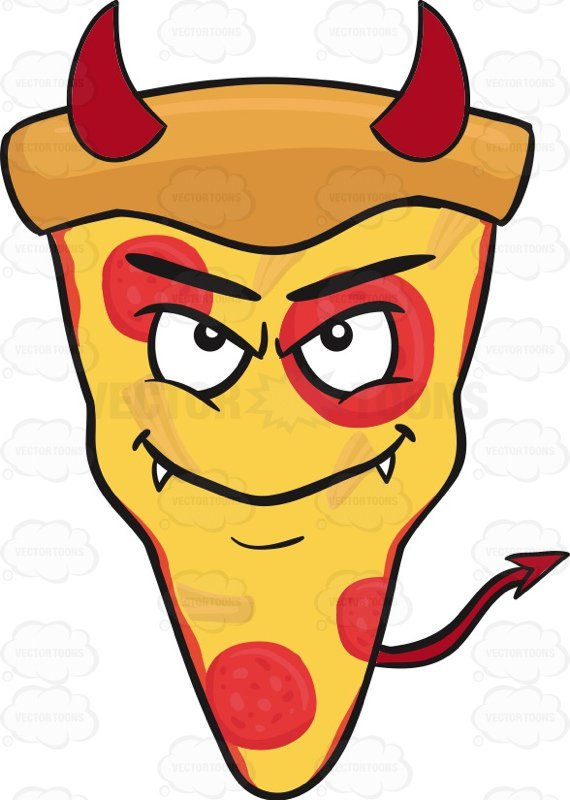 570x800 Slice Of Pepperoni Pizza Wearing A Smile With Horns And Fangs