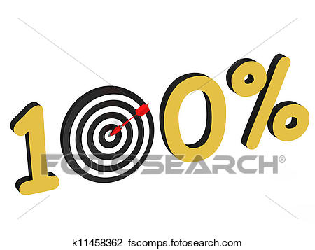 450x357 Clip Art Of The Number 100 Percent With Target K11458362