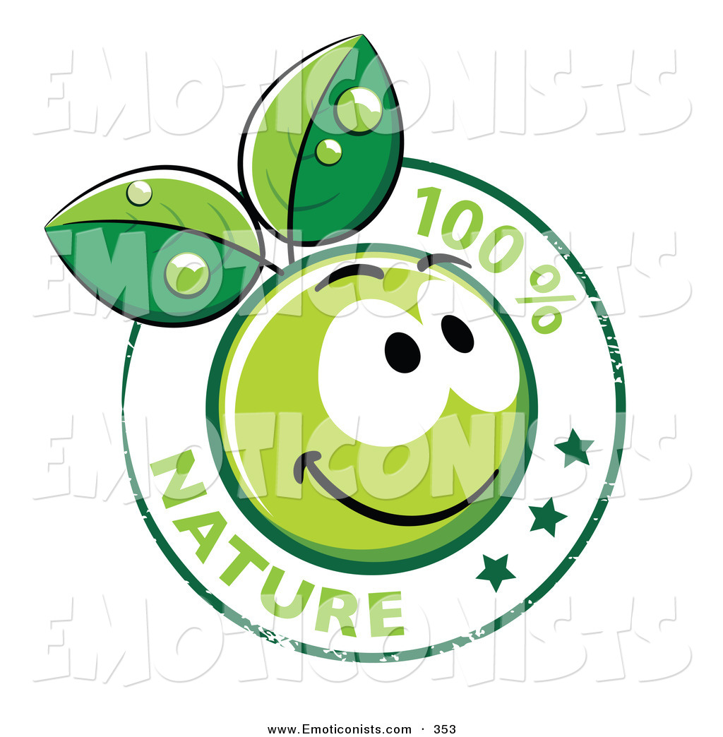 1024x1044 Clip Art Of A 100 Percent Nature Stamp With A Happy Green Organic