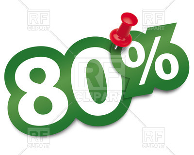 400x320 Eighty Percent Sticker Fixed By Thumbtack Royalty Free Vector Clip