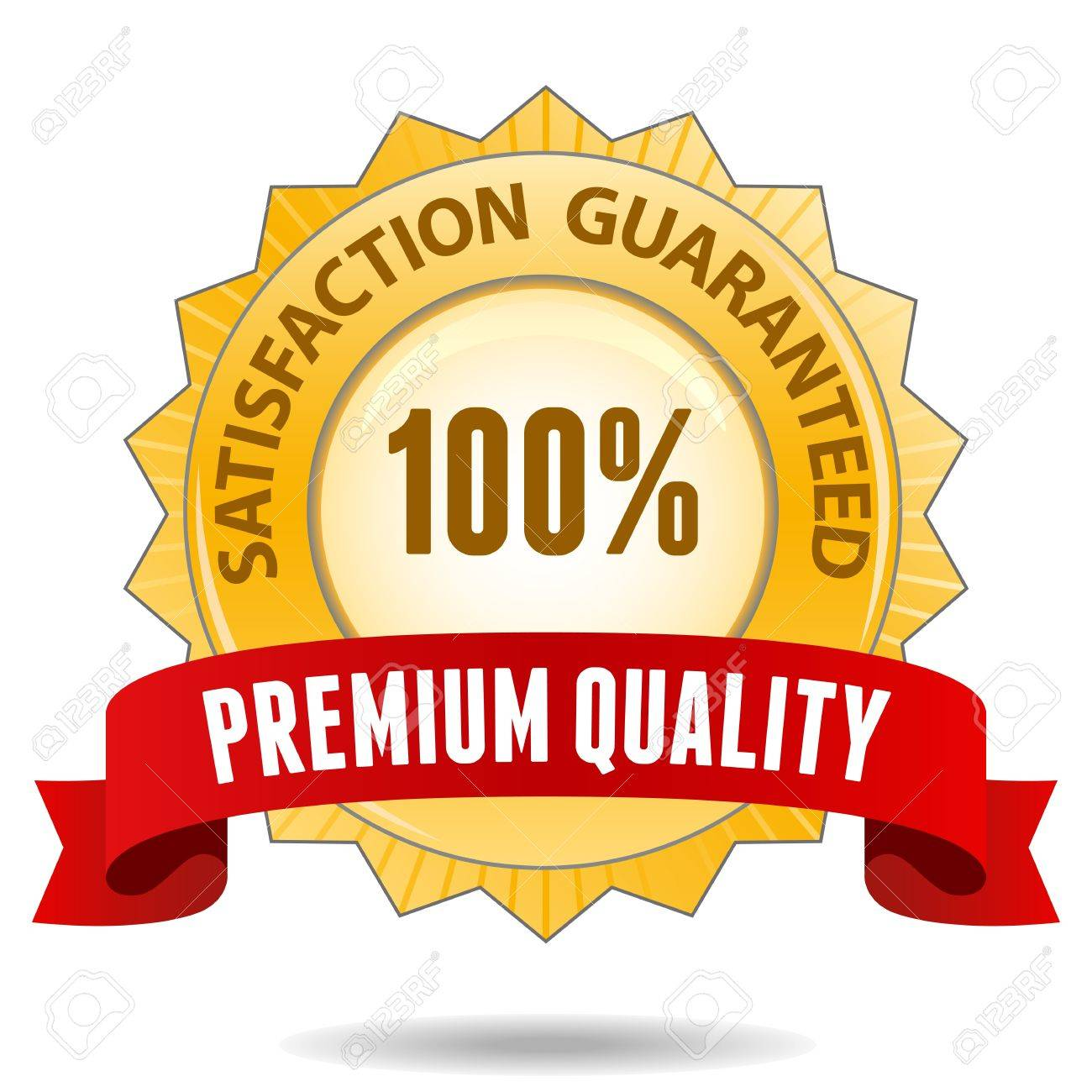 1300x1300 100 Percent Satisfaction Guarantee Golden Sign With Red Ribbon