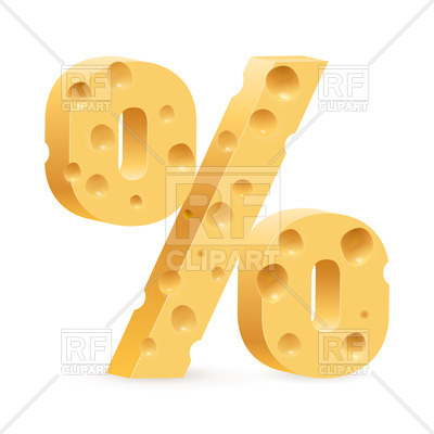 400x400 Percent Sign Made Of Cheese Royalty Free Vector Clip Art Image