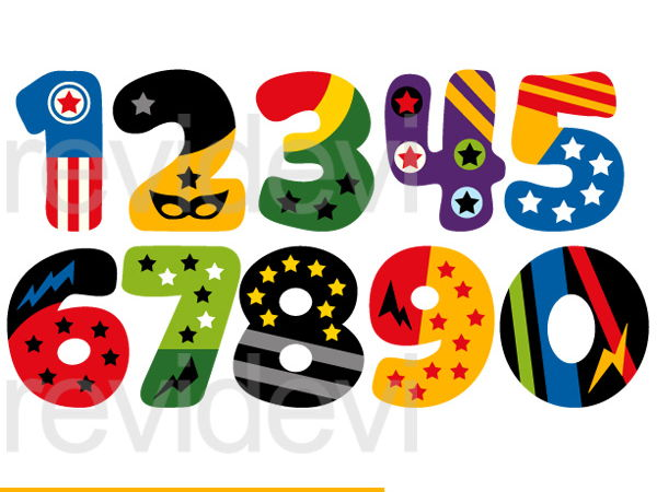 600x450 Superhero Numbers Clip Art Graphics By Revidevi