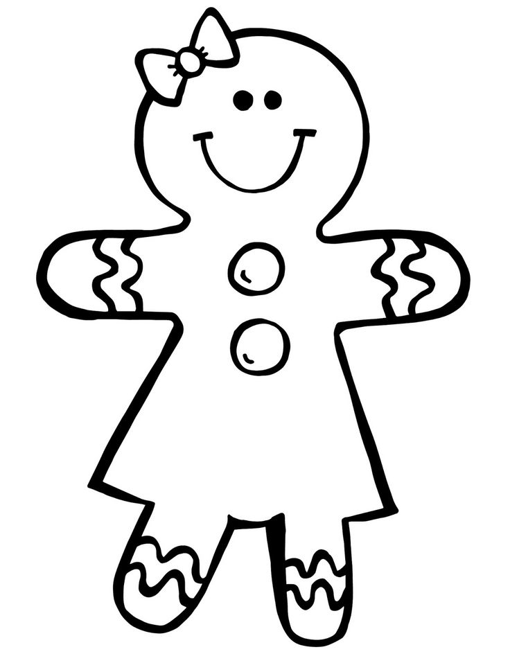 736x970 Gingerbread Clipart Black And White