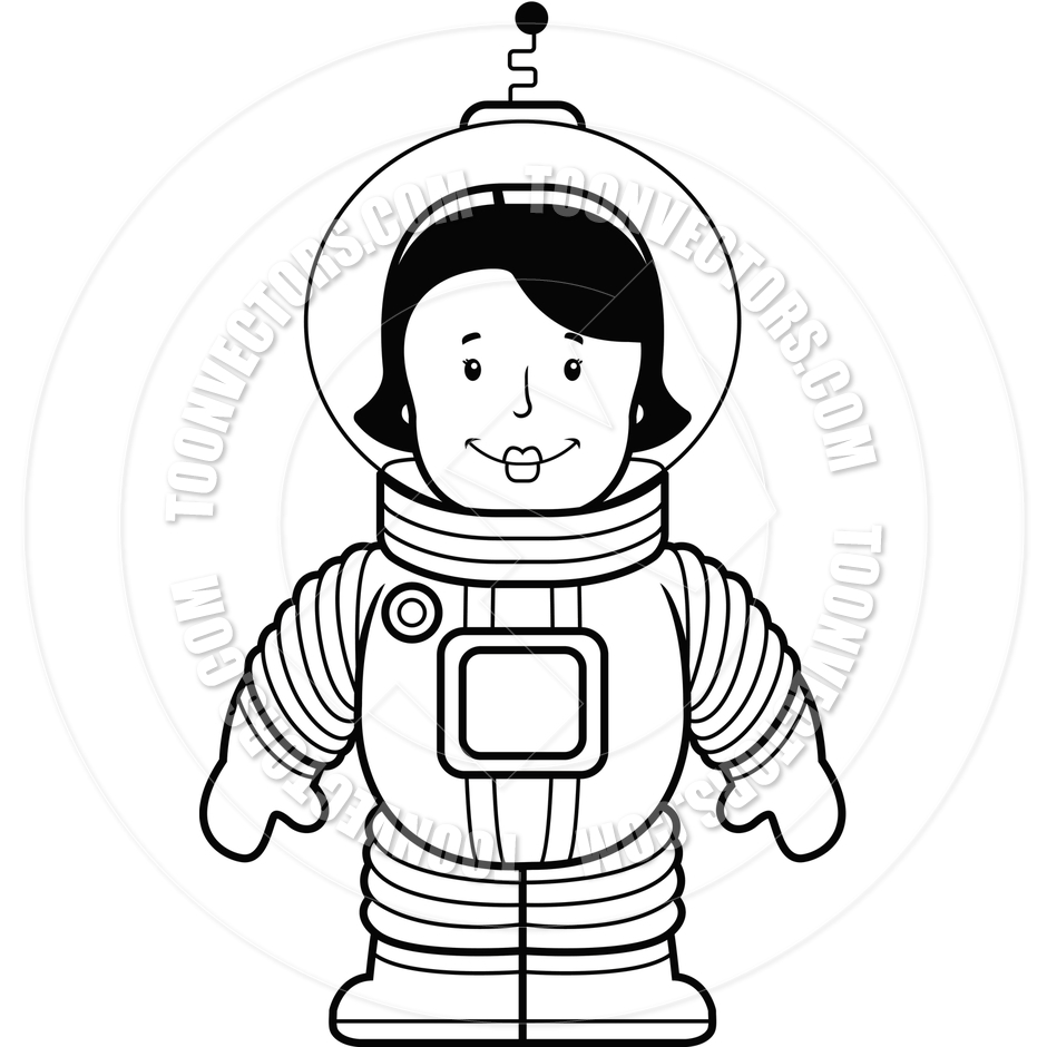 940x940 Woman Astronaut (Black And White Line Art) By Cory Thoman Toon