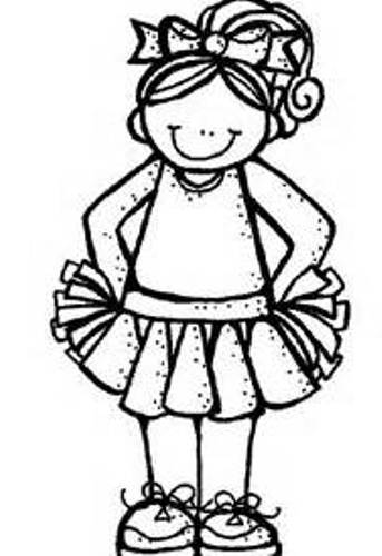 343x500 Black And White Cheerleading Clipart