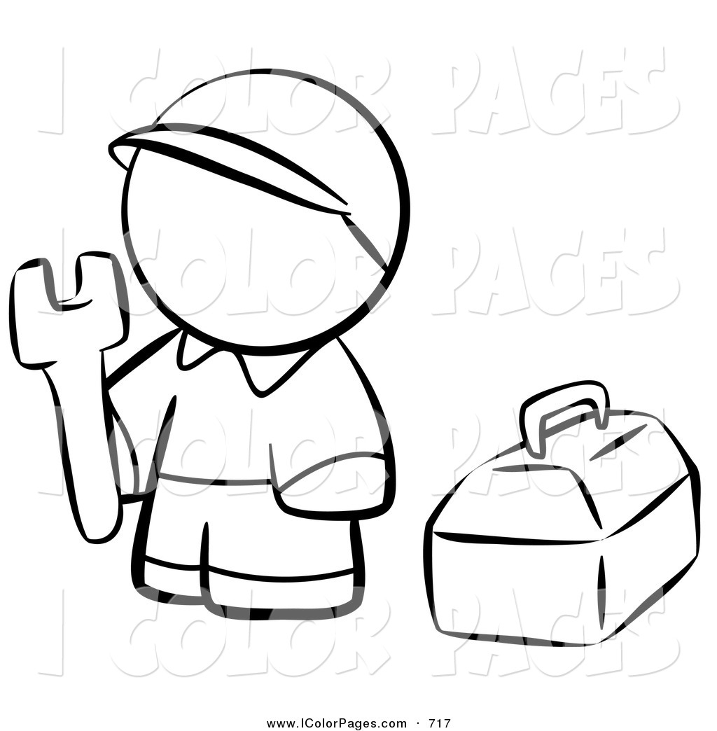 1024x1044 Vector Coloring Page Of A Black And White Human Factor Contractor