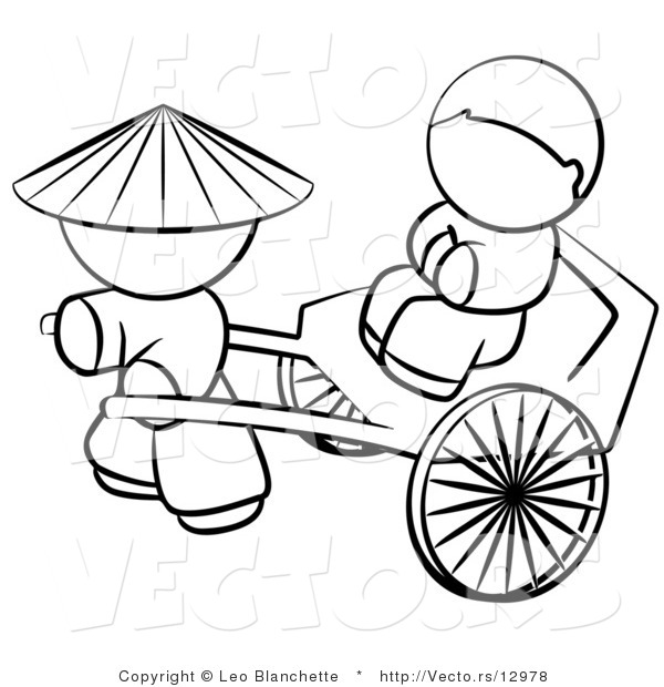 600x620 Vector Of Chinese Person Pulling A Customer In A Cart