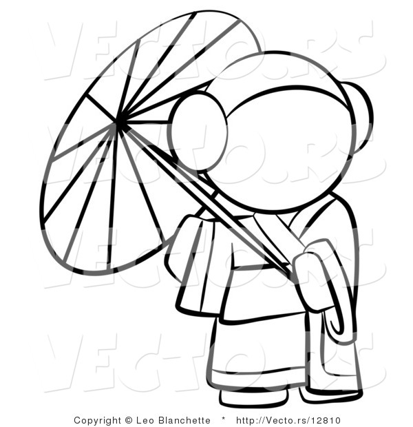 600x620 Vector Of Geisha Woman Strolling With A Parasol