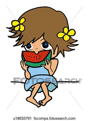 346x470 Clipart Of A Girl Eating Watermelon, Illustration, Cartoon