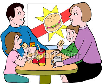 350x283 Family Eating Burgers In A Fast Food Place Clipart