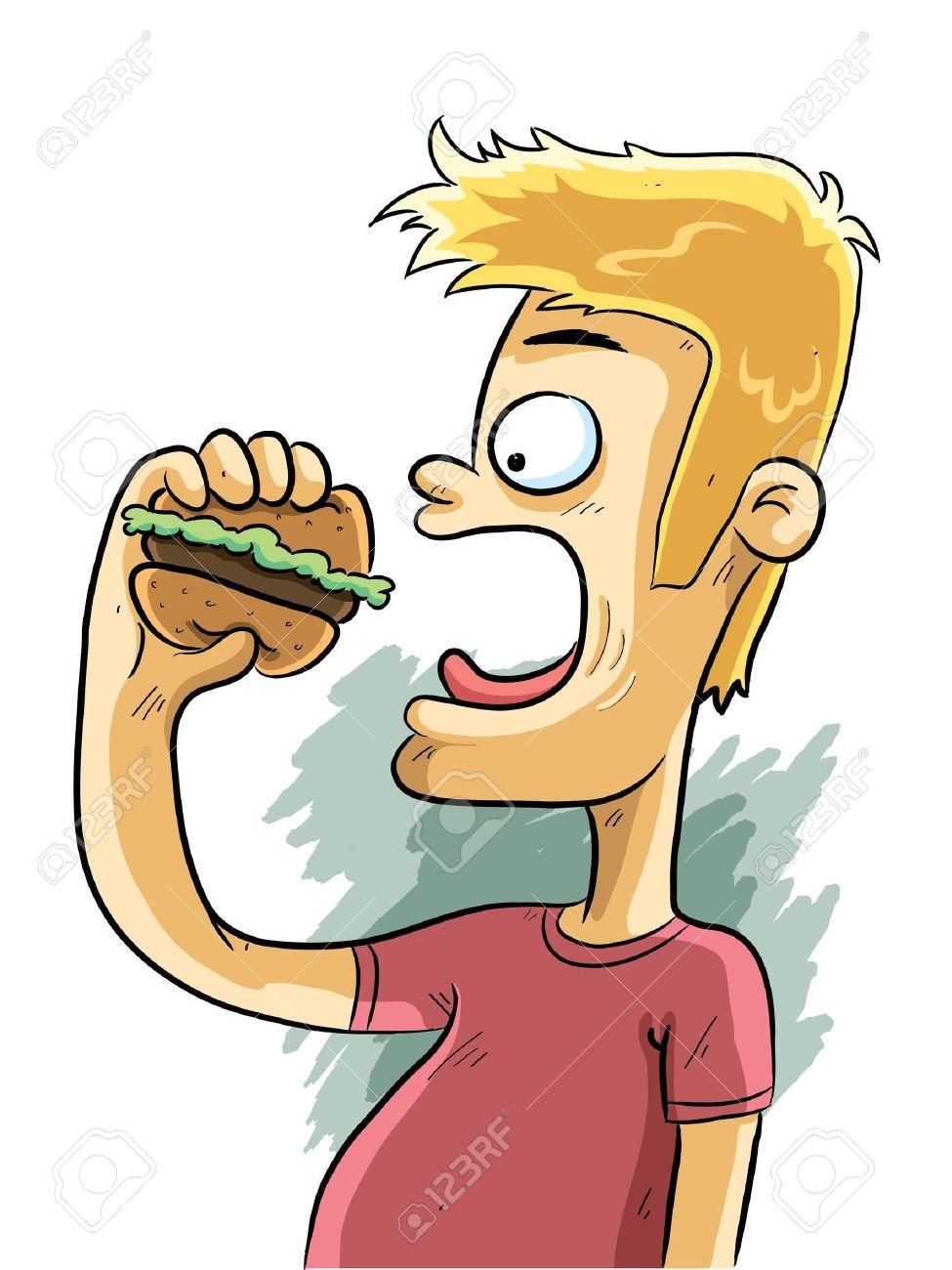 975x1300 Man Eating Burger Royalty Free Cliparts, Vectors, And Stock