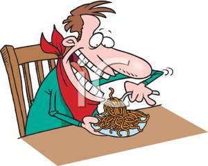 300x239 Man Eating Spaghetti Clip Art Image