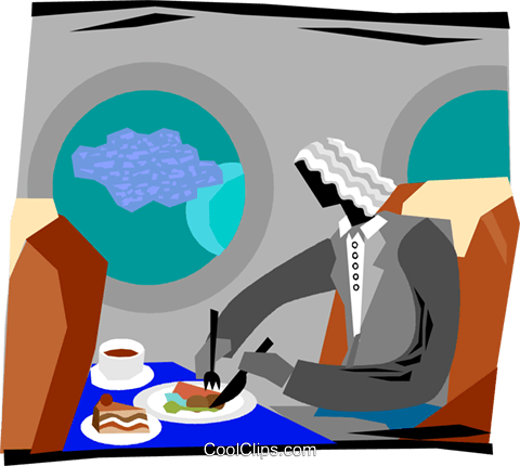 480x430 Person Eating A Meal In A Plane Royalty Free Vector Clip Art