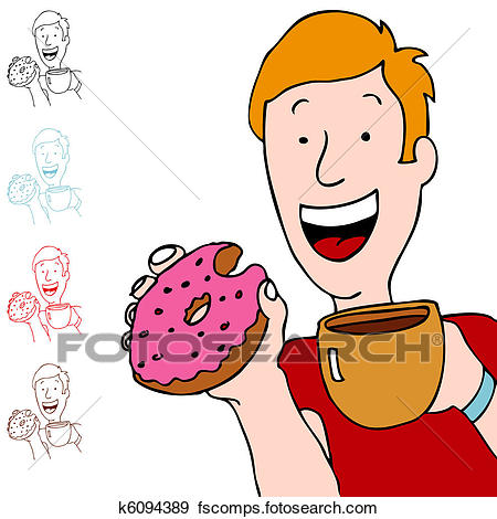450x470 Clip Art Of Man Having Coffee And Donut K6094389