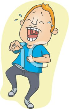 222x350 Royalty Free Clipart Image Cartoon Of A Man Laughing So Hard He Cried