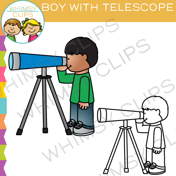 600x600 Boy Looking Through A Telescope Clip Art , Images Amp Illustrations