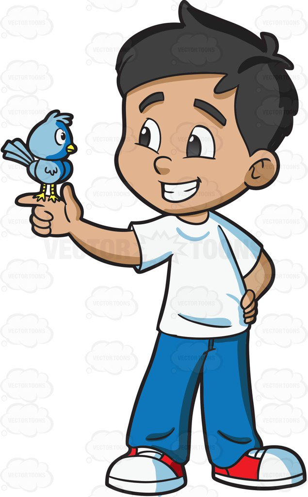 635x1024 A Boy Looking At His Pet Bird Cartoon Clipart