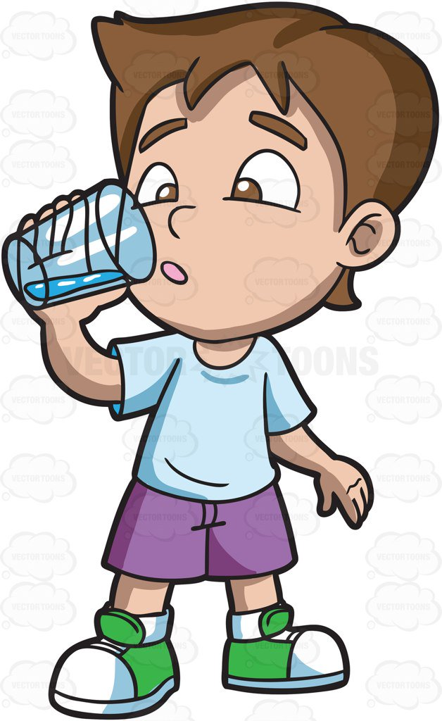 628x1024 A Boy Looking Curious At The Water That He Is Drinking Cartoon