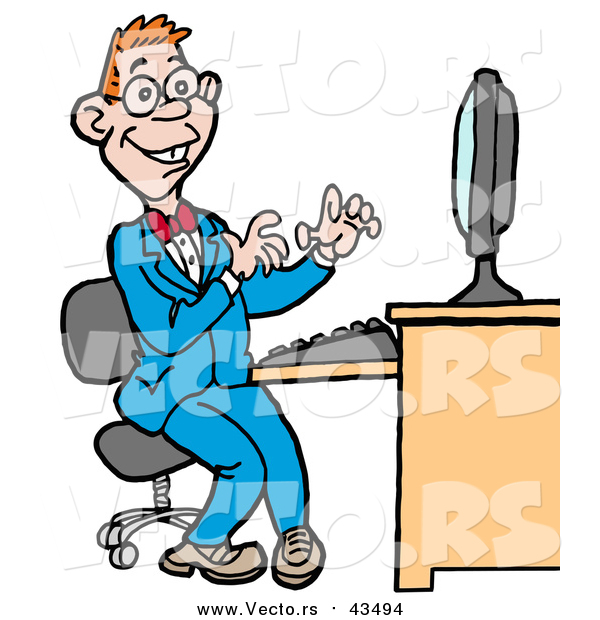 600x620 Vector Of Computer Geek Man In Blue Suit, Working On