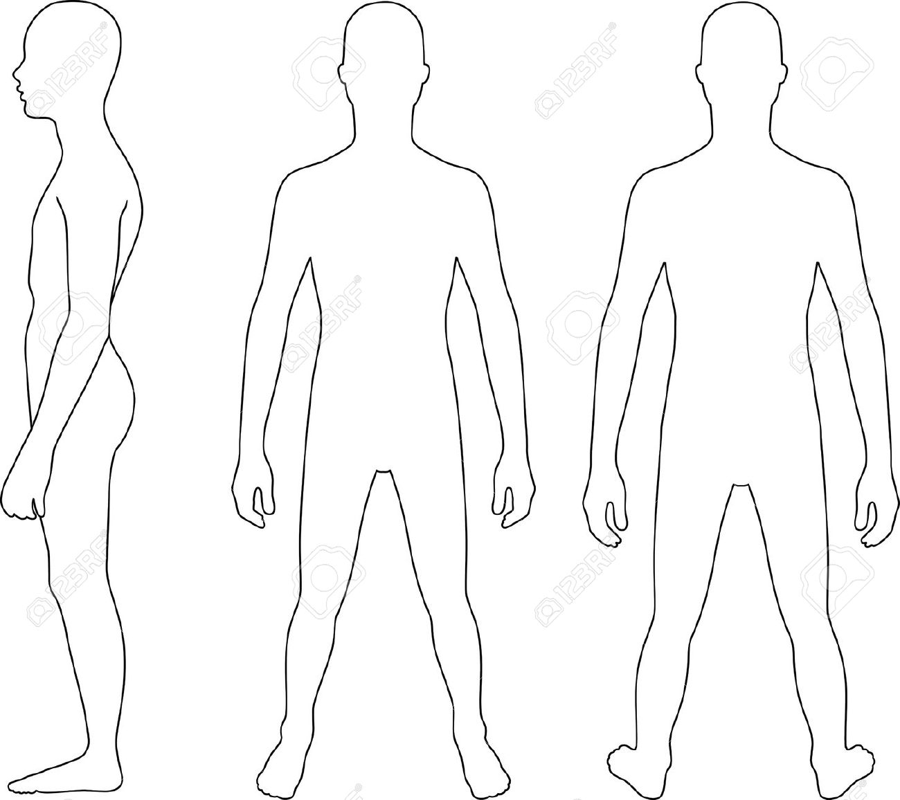 1300x1156 Person Outline Clipart Back And Front